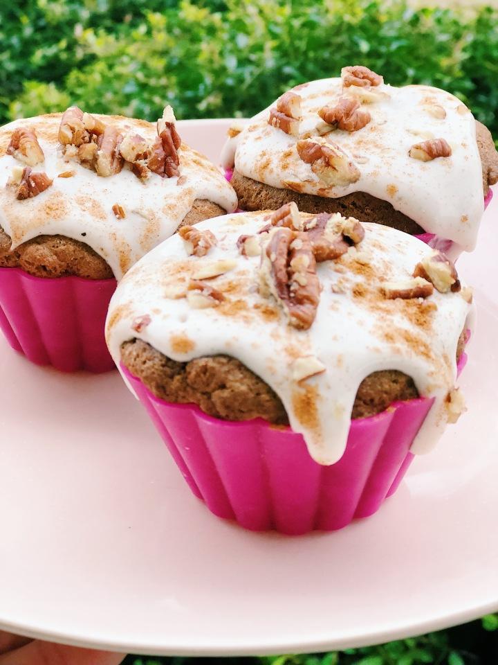 Paleo/Gluten Free Pumpkin Muffins with Cinnamon CoconutIcing
